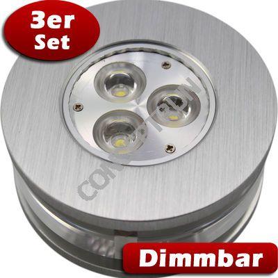 3er set led einbaustrahler leuchte rund glas dimmbar ebay. Black Bedroom Furniture Sets. Home Design Ideas