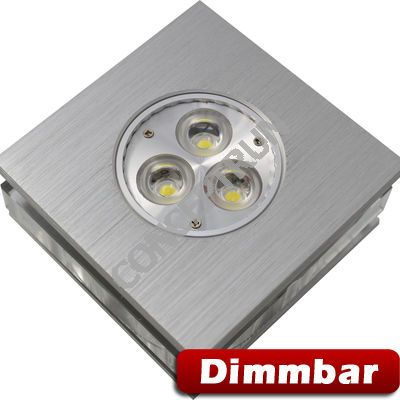 5er set led einbaustrahler led spot leuchte quad aluminium glas dimmbar ebay. Black Bedroom Furniture Sets. Home Design Ideas
