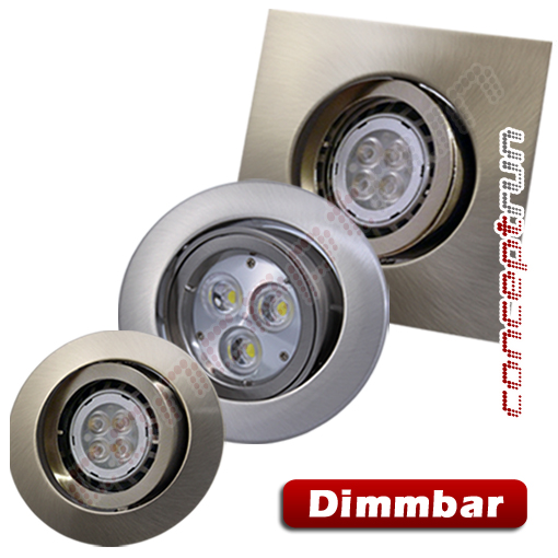 10er set led aluminium einbaustrahler einbauleuchte spot dimmbar 230v cr101 ebay. Black Bedroom Furniture Sets. Home Design Ideas